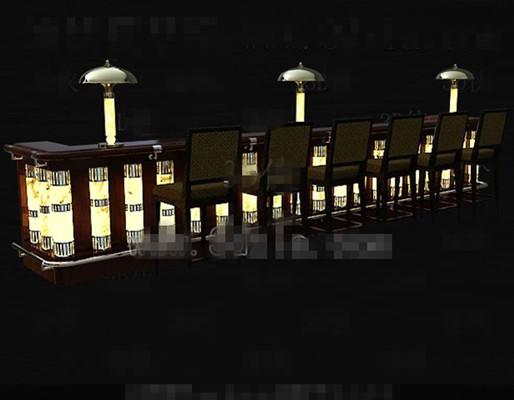 Retro yellow wooden bar 3D Model