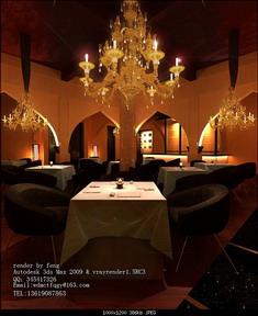Romantic Style Western Restaurant 3D Model