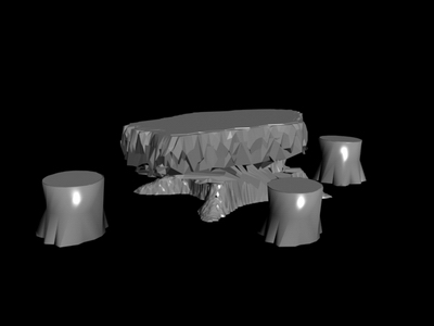 Root tea table model 2 3D Model