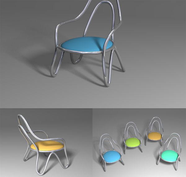 Round chair model flow line 3D Model