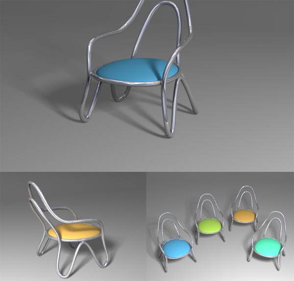 Round chair model flow line 3D Model