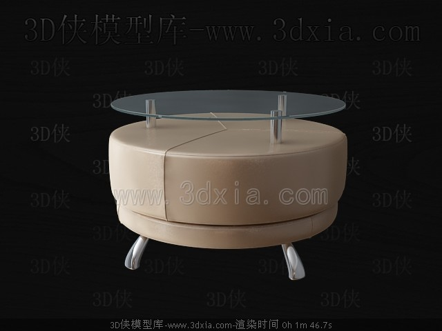 Round glass tea table 3D Model