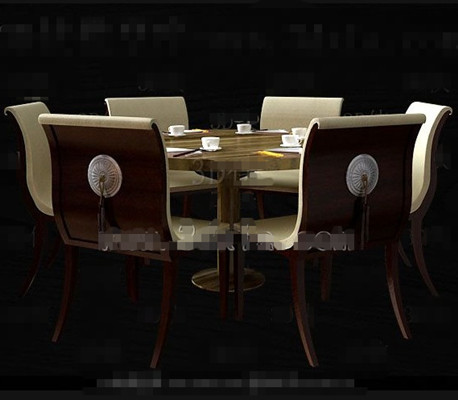 Round Redwood dining table combination 3D Model