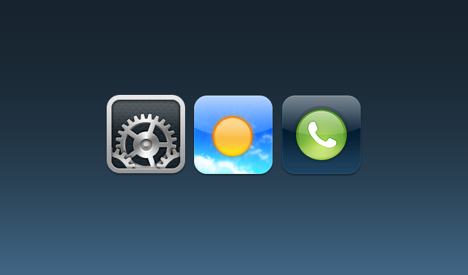 Settings, Weather, Phone iOS Icons PSD