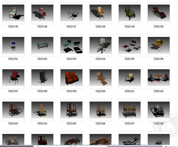 Several hundred sets of chairs 3D Model