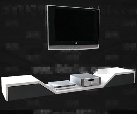 Silver and white unique TV cabinet 3D Model