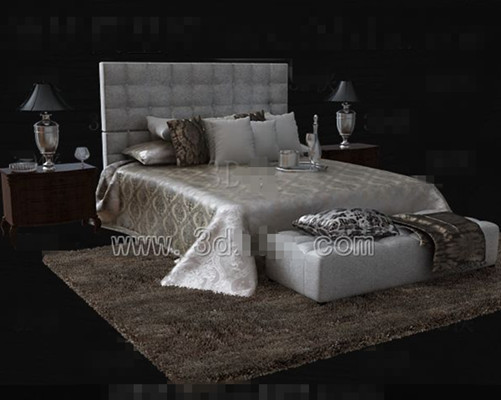 Silver brown luxury double bed 3D Model