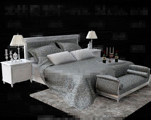 Silver European minimalist double bed 3D Model
