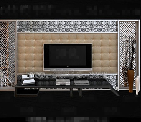 Silver fashion minimalist TV wall 3D Model