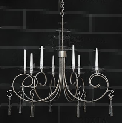 Silver frame white candles chandelier 3D Model