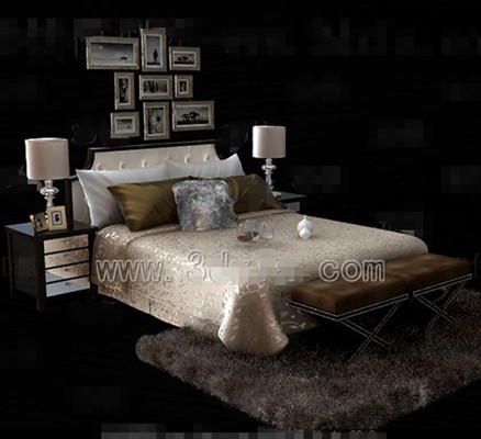 Silver yellow theme double bed 3D Model
