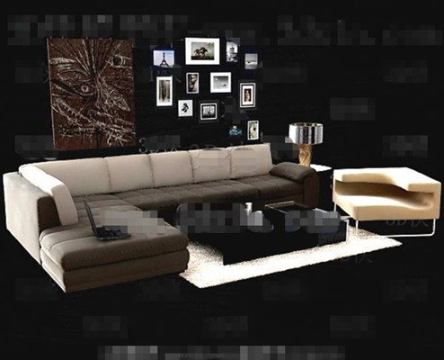Simple and comfortable sofa combination 3D Model