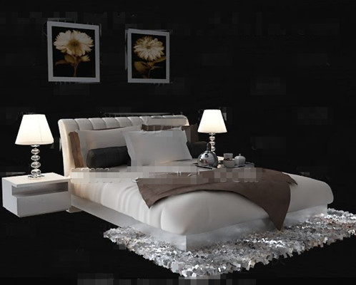 Simple and comfortable white double bed 3D Model