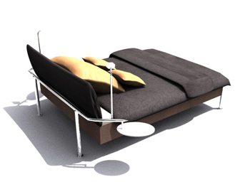 Simple and convenient single beds 3D Model