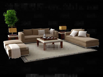 Simple and elegant sofa combination 3D Model