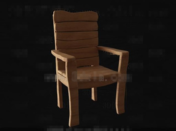 Simple and original wooden chair 3D Model