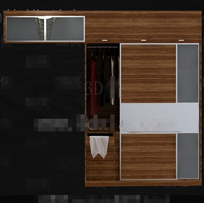 simple bedroom wardrobe combination 3D Model