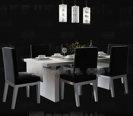 Simple black and white dining table 3D Model