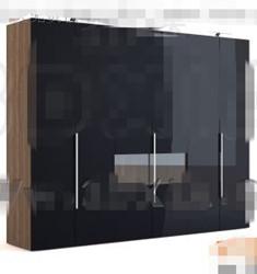 Simple black four-door wardrobe 3D Model