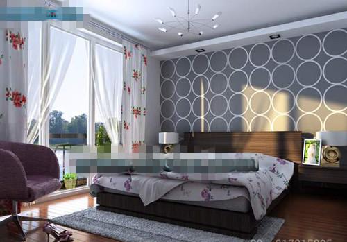 Simple ceiling windows bedroom 3D Model