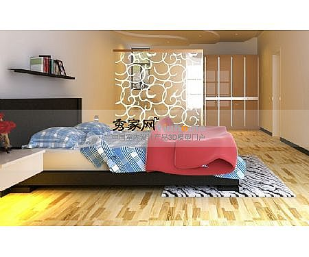 Simple double bed 3D Model