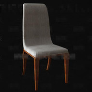 Simple gray fabric wood chair 3D Model