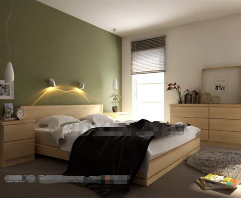 Simple green background wall bedroom 3D Model