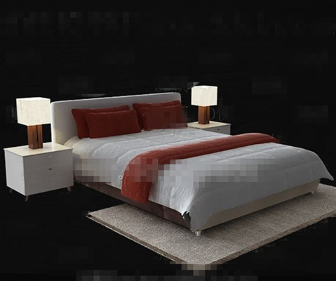Simple modern white double bed 3D Model