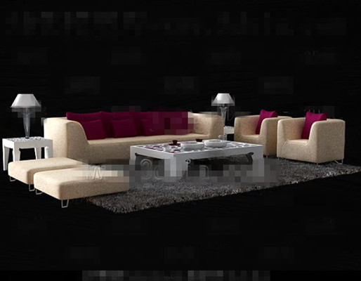 Simple Rose Red sofa combination 3D Model