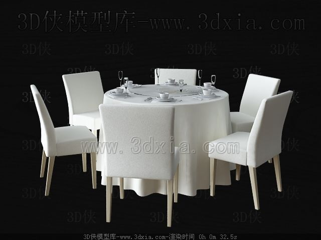 Simple round white table and chairs 3D Model