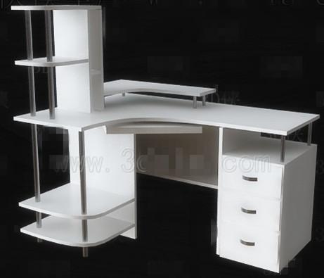 Simple white computer desk 3D Model