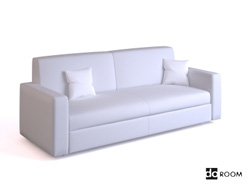 Simple white double seats sofa 3D Model