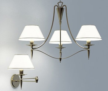 Simple white European-style wall lamp 3D Model