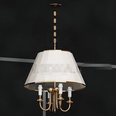 Simple white lamp shade chandelier 3D Model