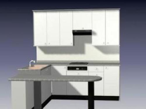 Simple white Overall cupboard 3D Model