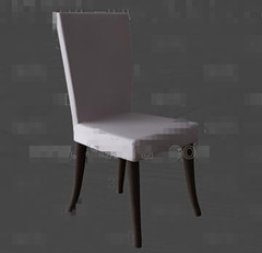 Simple white wooden chair 3D Model