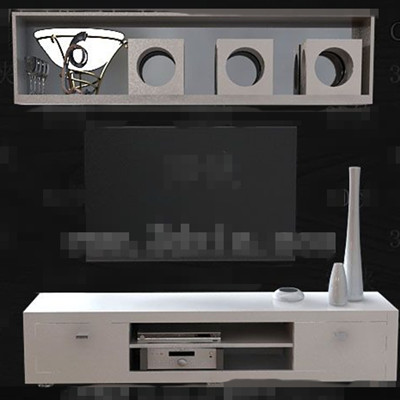 Simple white wooden TV cabinet 3D Model