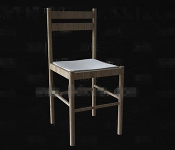 Simple wooden back-rest chair 3D Model