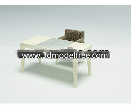 Simple wooden desk combination 3D Model