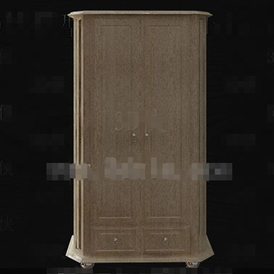 Simple wooden two-door wardrobe 3D Model