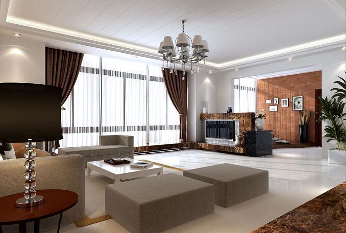 Simplism Living Room with Lounge Area 3D Model