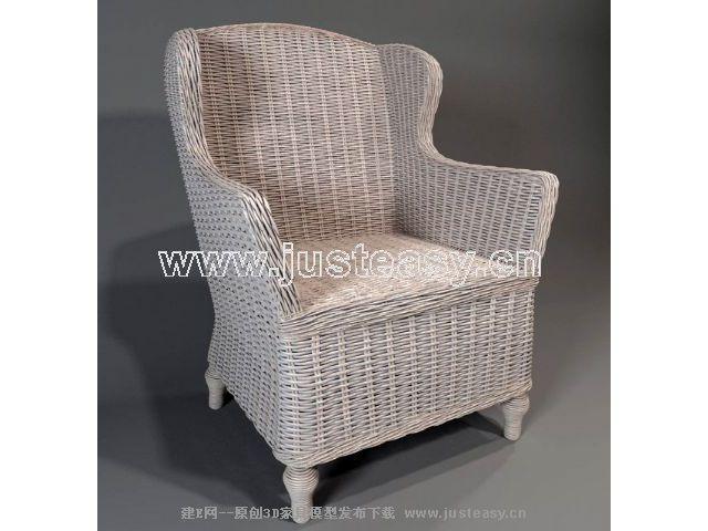 Single back rattan sofa Chinese 3D Model