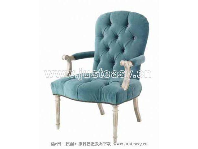 Single blue chair 3D Model