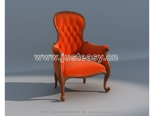 Single red sofa back 3D Model