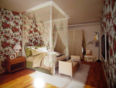 Small Floral bedroom 3D model of the fine (including materials)