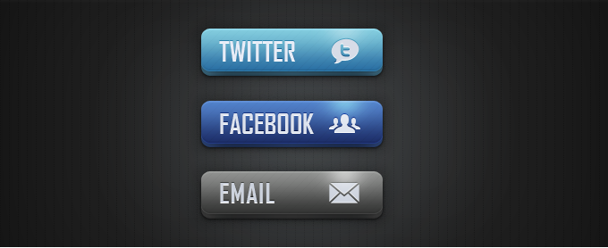 Social Media and Email Buttons PSD