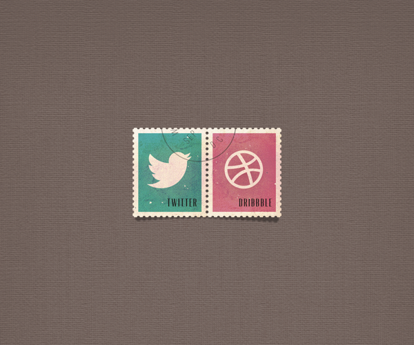 Social Media Postage Stamps PSD
