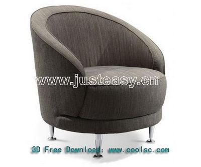 Soft sofa 3D model fashion circular (including materials)