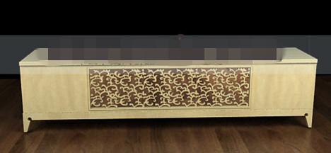 Solid wood carved TV cabinet 3D Model