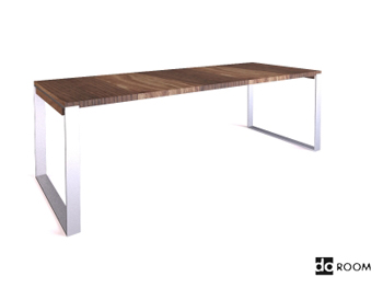 Solid wood desktop and metal stents table 3D Model